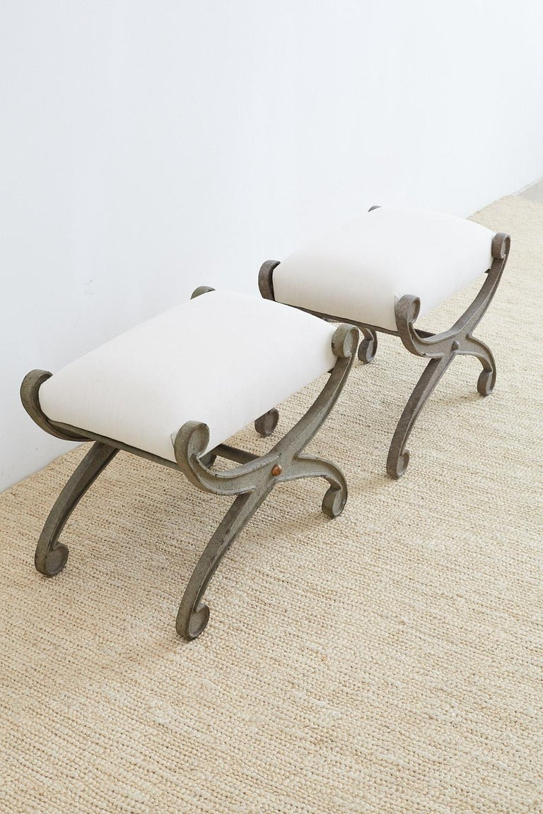 Pair of Curule Iron Benches or Stools For Sale 5