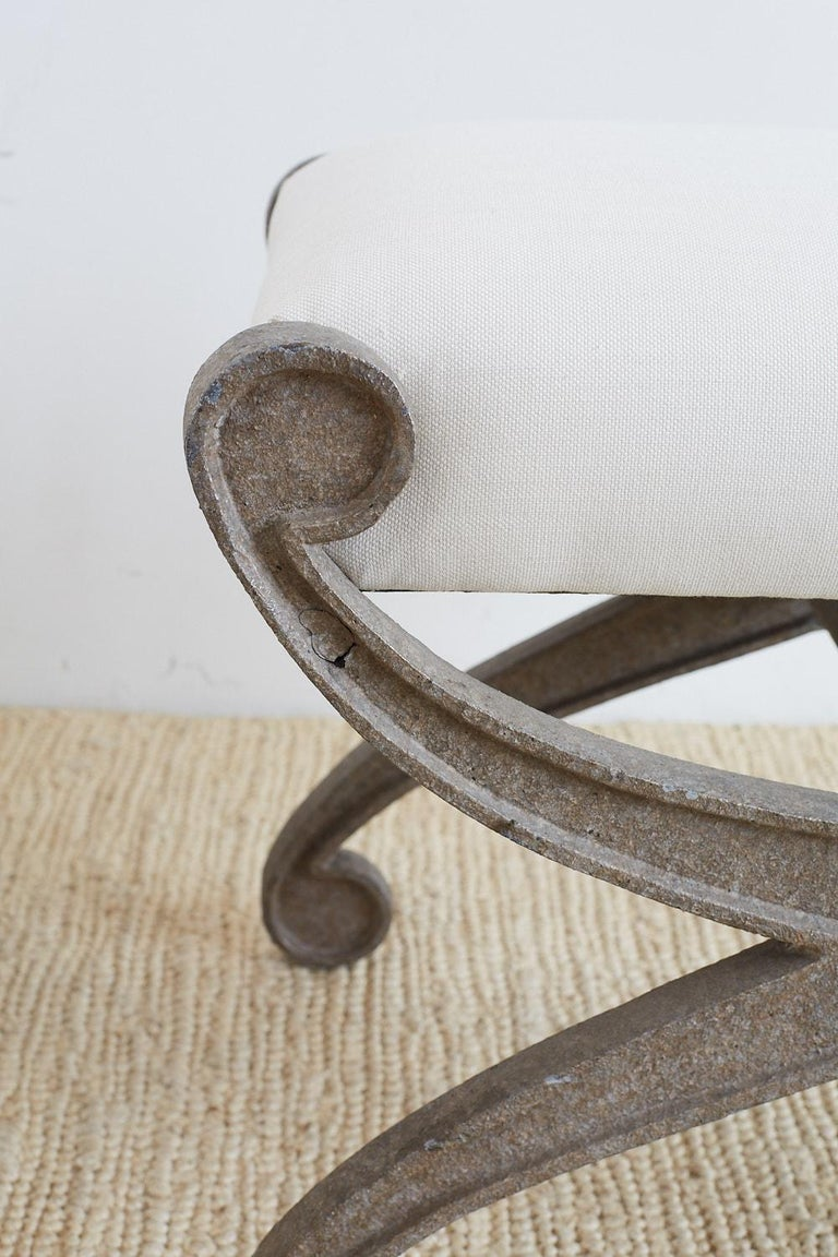 Pair of Curule Iron Benches or Stools For Sale 6
