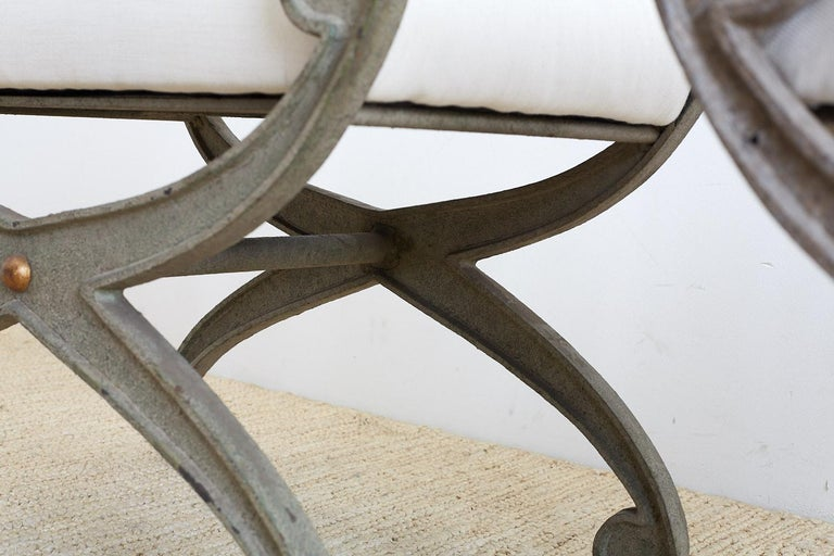 Pair of Curule Iron Benches or Stools For Sale 7