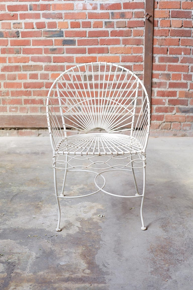 Hollywood Regency Set of Six French Iron and Wire Garden Chairs For Sale