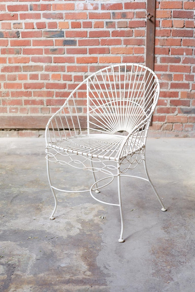 Hand-Crafted Set of Six French Iron and Wire Garden Chairs For Sale