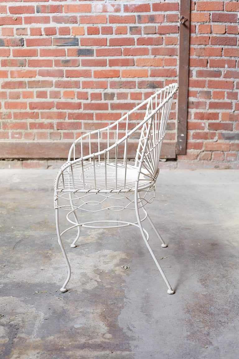 Set of Six French Iron and Wire Garden Chairs In Good Condition For Sale In Oakland, CA