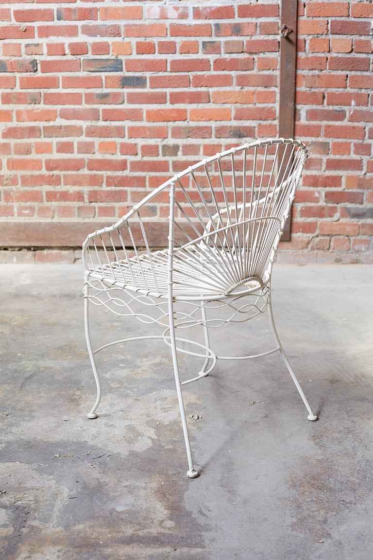 20th Century Set of Six French Iron and Wire Garden Chairs For Sale