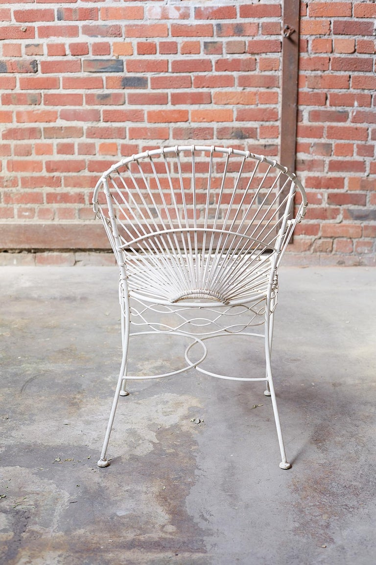 Set of Six French Iron and Wire Garden Chairs For Sale 1