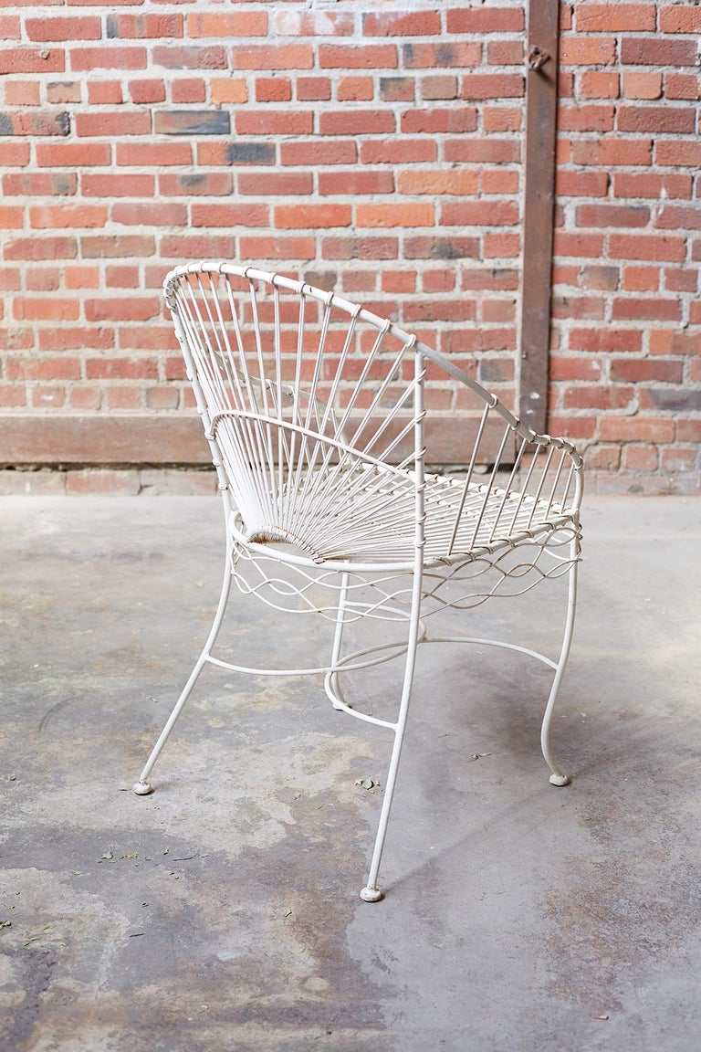 Set of Six French Iron and Wire Garden Chairs For Sale 2