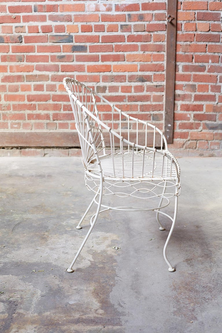 Set of Six French Iron and Wire Garden Chairs For Sale 3