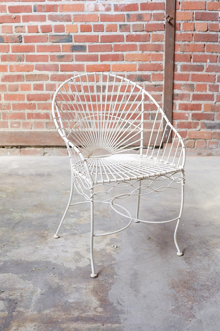 Set of Six French Iron and Wire Garden Chairs For Sale 4