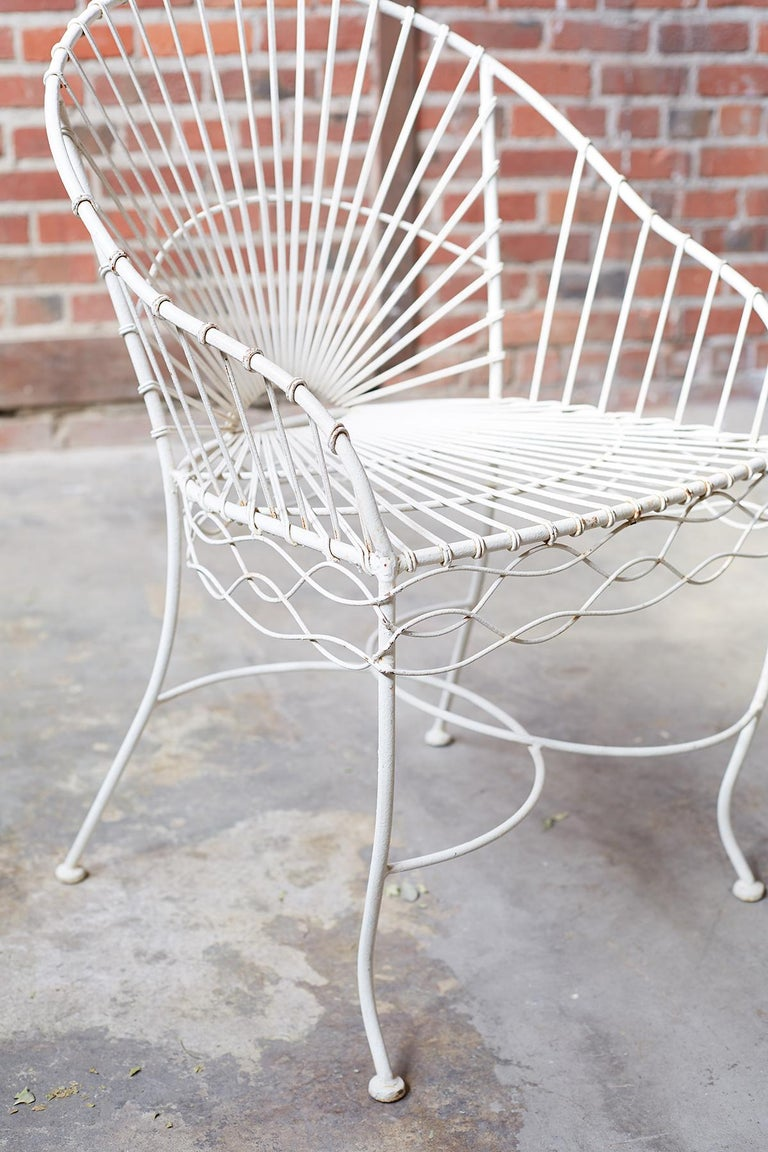 Set of Six French Iron and Wire Garden Chairs For Sale 5
