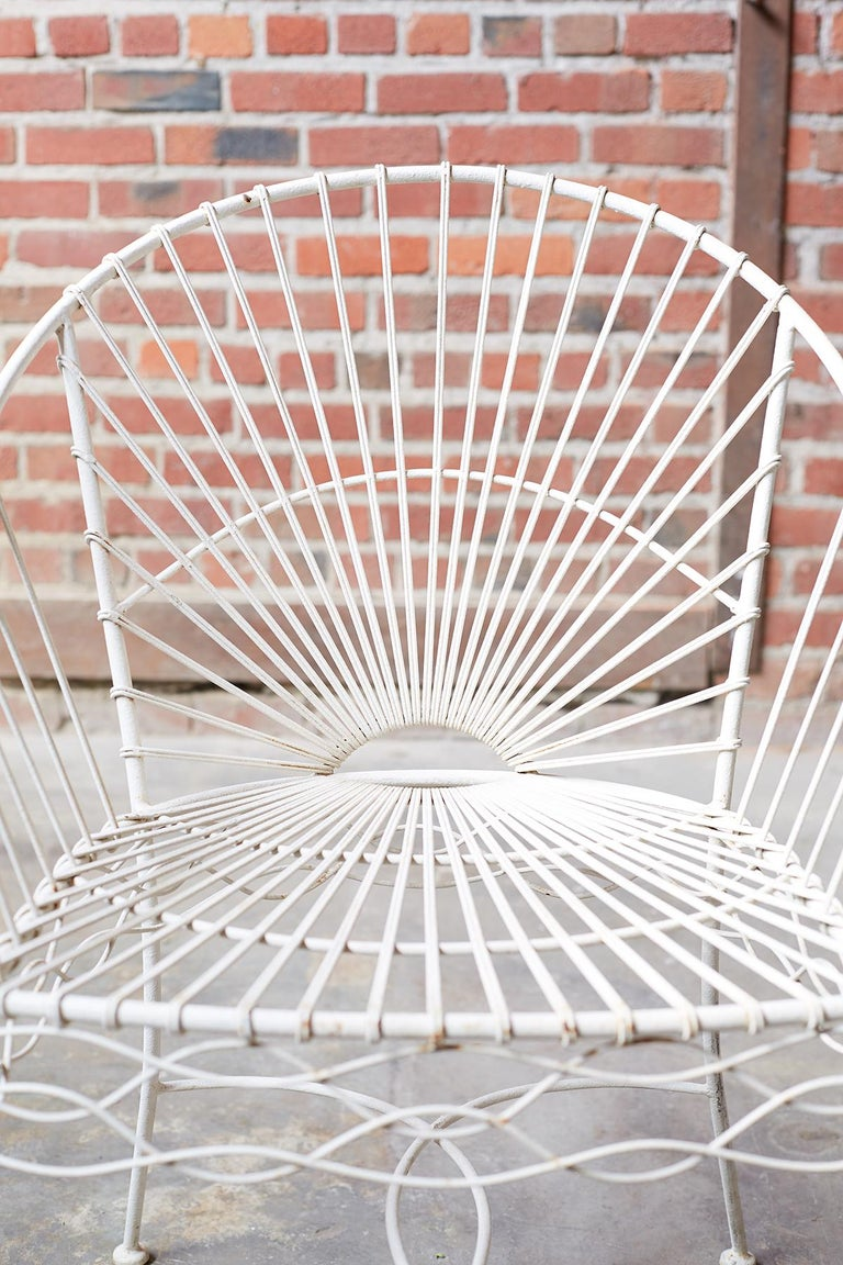 Set of Six French Iron and Wire Garden Chairs For Sale 6