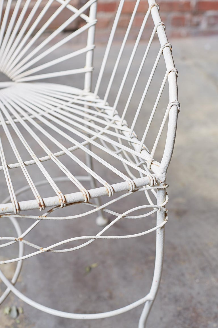 Set of Six French Iron and Wire Garden Chairs For Sale 8