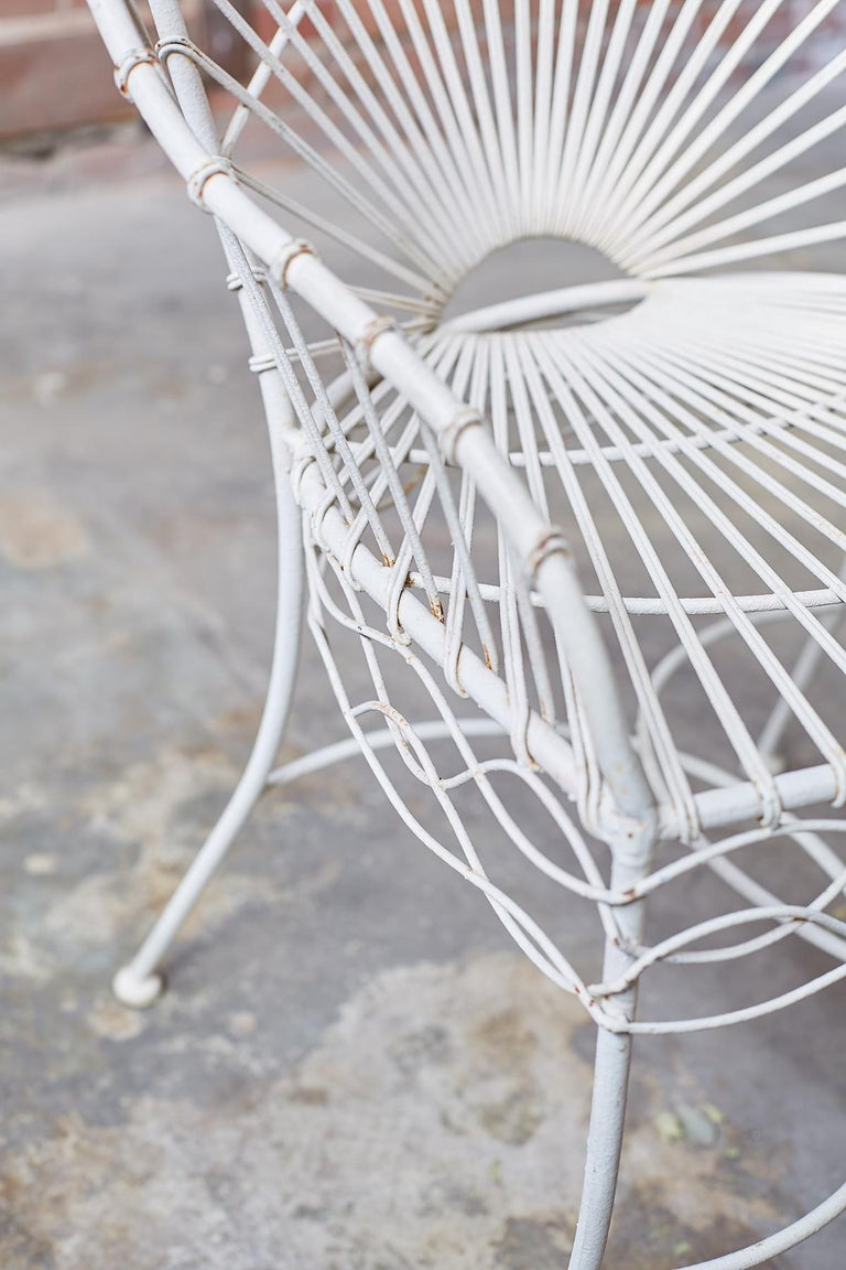 Set of Six French Iron and Wire Garden Chairs For Sale 9