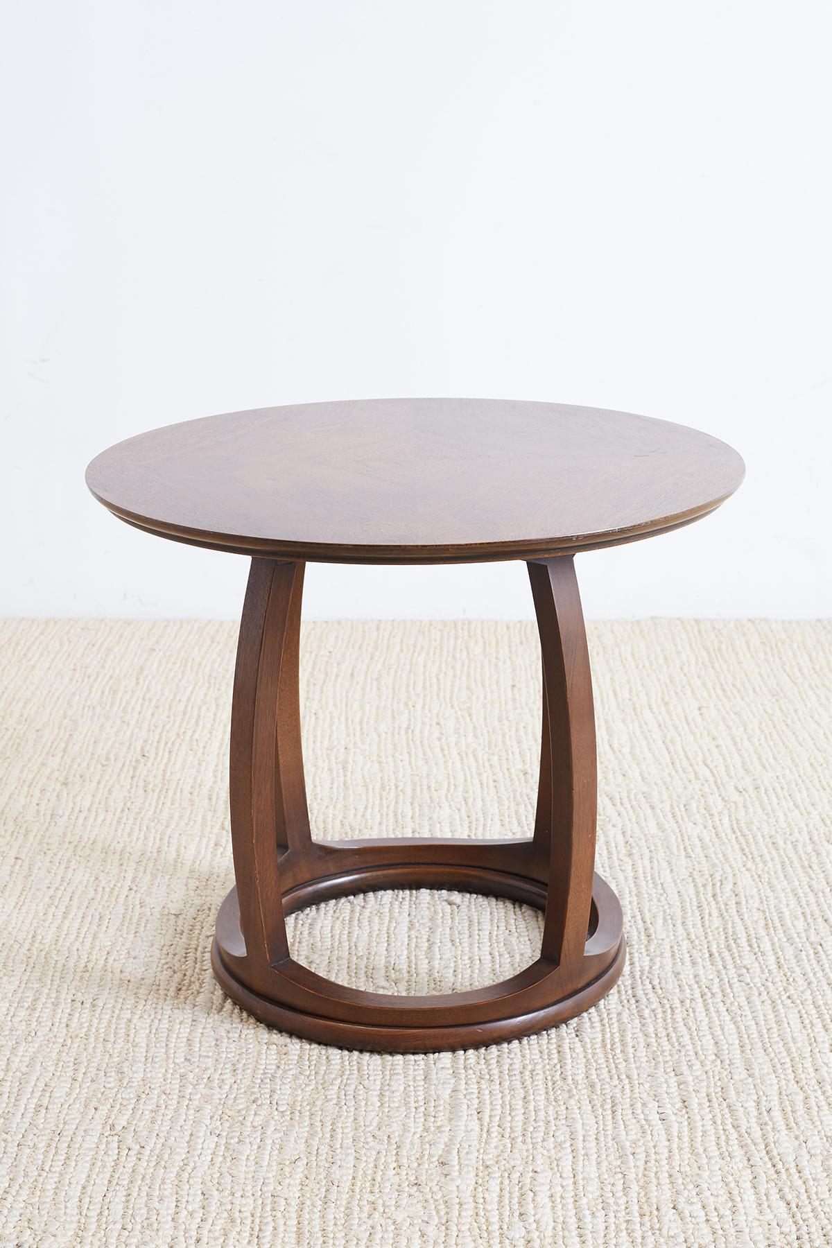 Handsome Mahogany Round Side Table Or Tabouret Table Having A Round Top And  A Drum Shaped
