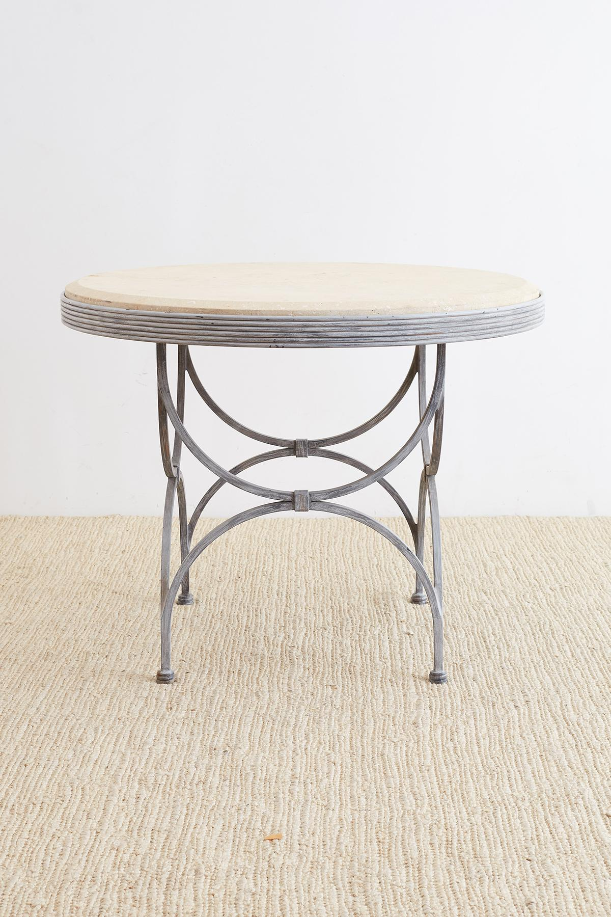 Captivating Extraordinary Iron And Stone Patio Garden Table Made In The Neoclassical  Taste. Features A Thick