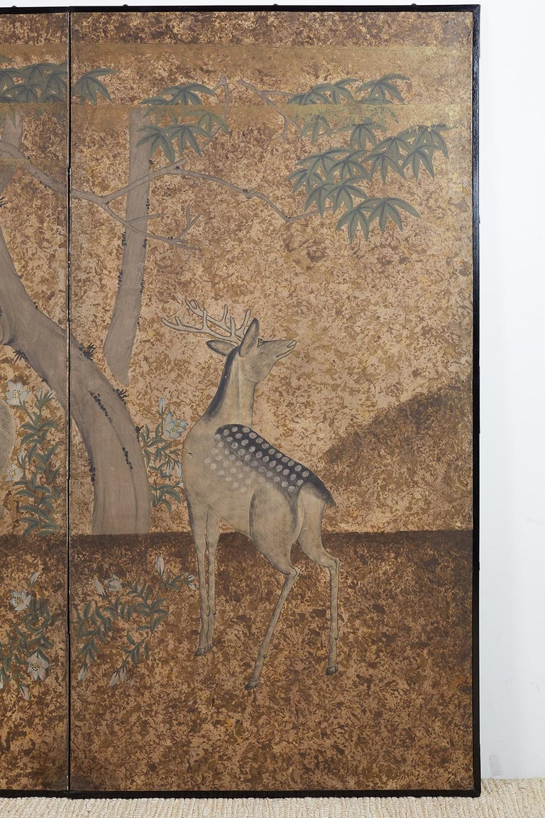 Ebonized Japanese Two-Panel Showa Period Screen of Sika Deer For Sale