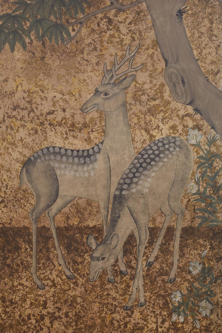 Japanese Two-Panel Showa Period Screen of Sika Deer In Good Condition For Sale In Oakland, CA