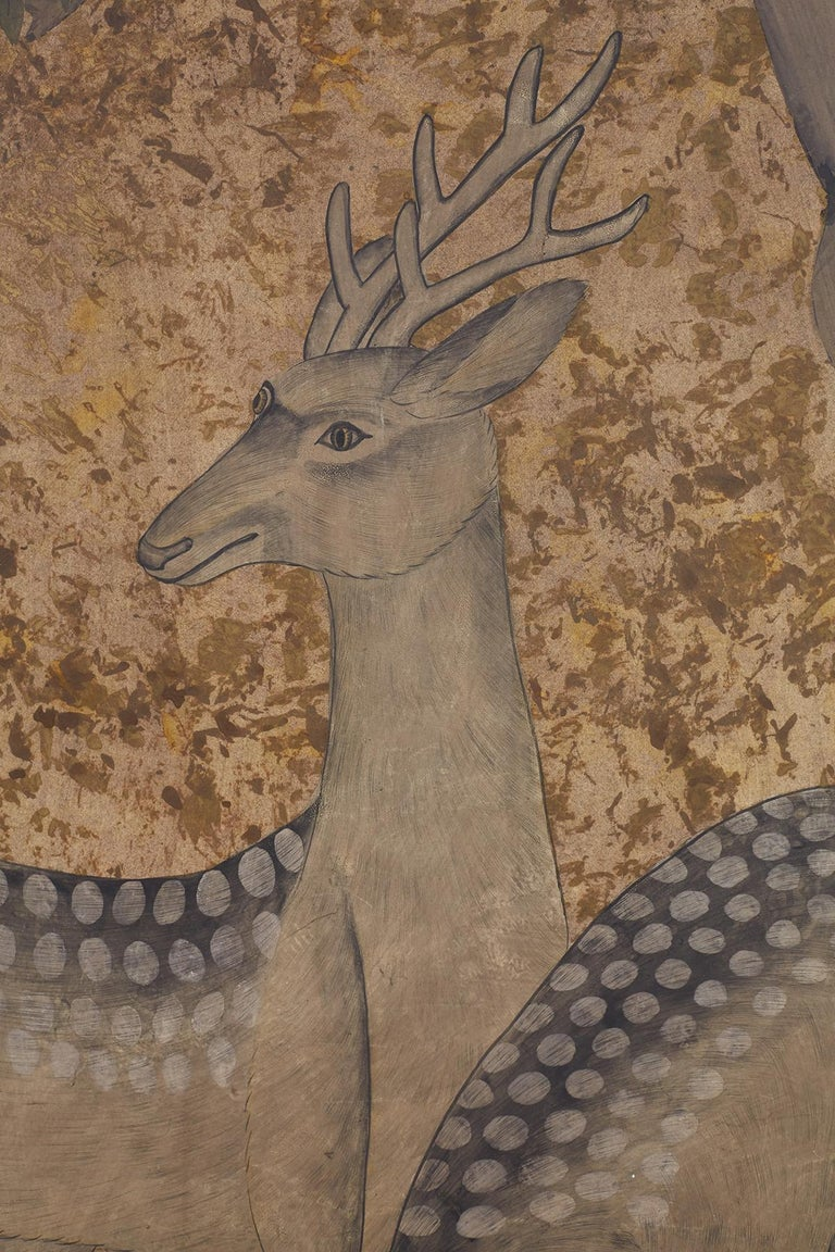 20th Century Japanese Two-Panel Showa Period Screen of Sika Deer For Sale