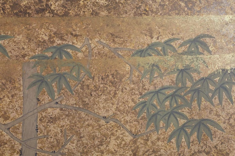 Japanese Two-Panel Showa Period Screen of Sika Deer For Sale 2