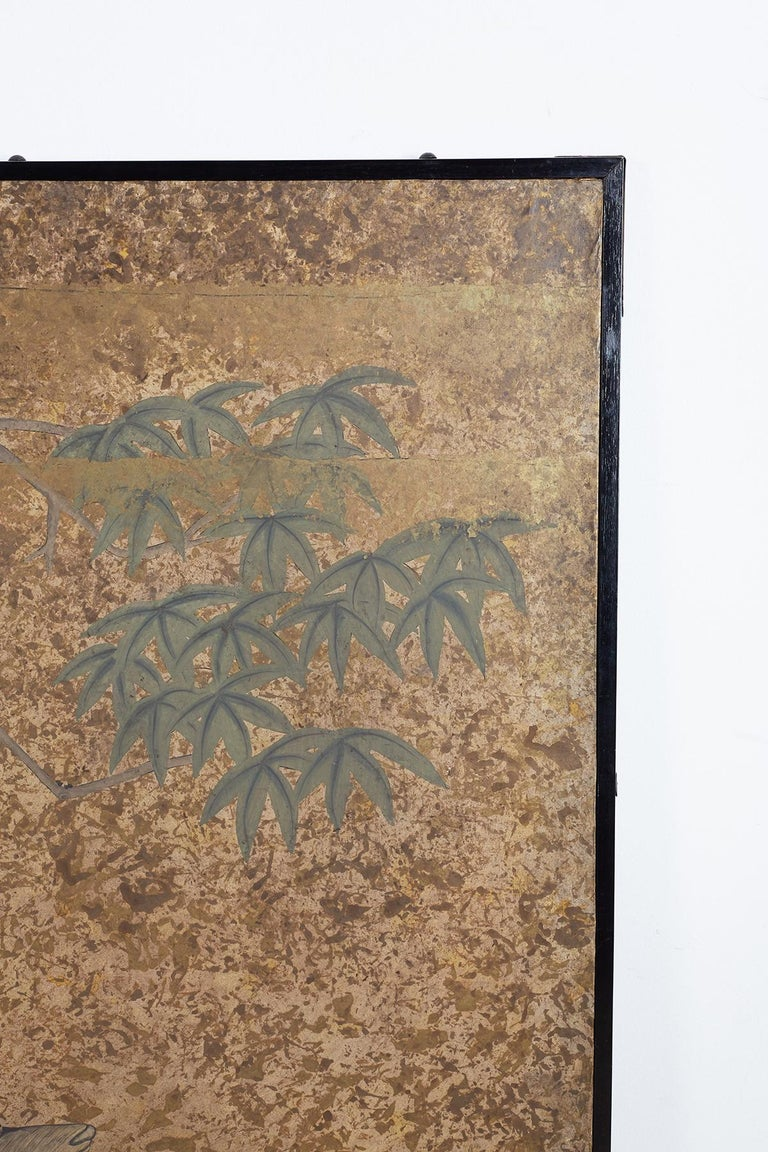 Japanese Two-Panel Showa Period Screen of Sika Deer For Sale 5