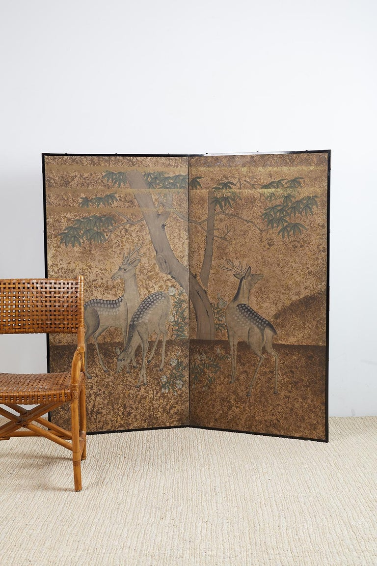 Japanese Two-Panel Showa Period Screen of Sika Deer For Sale 7