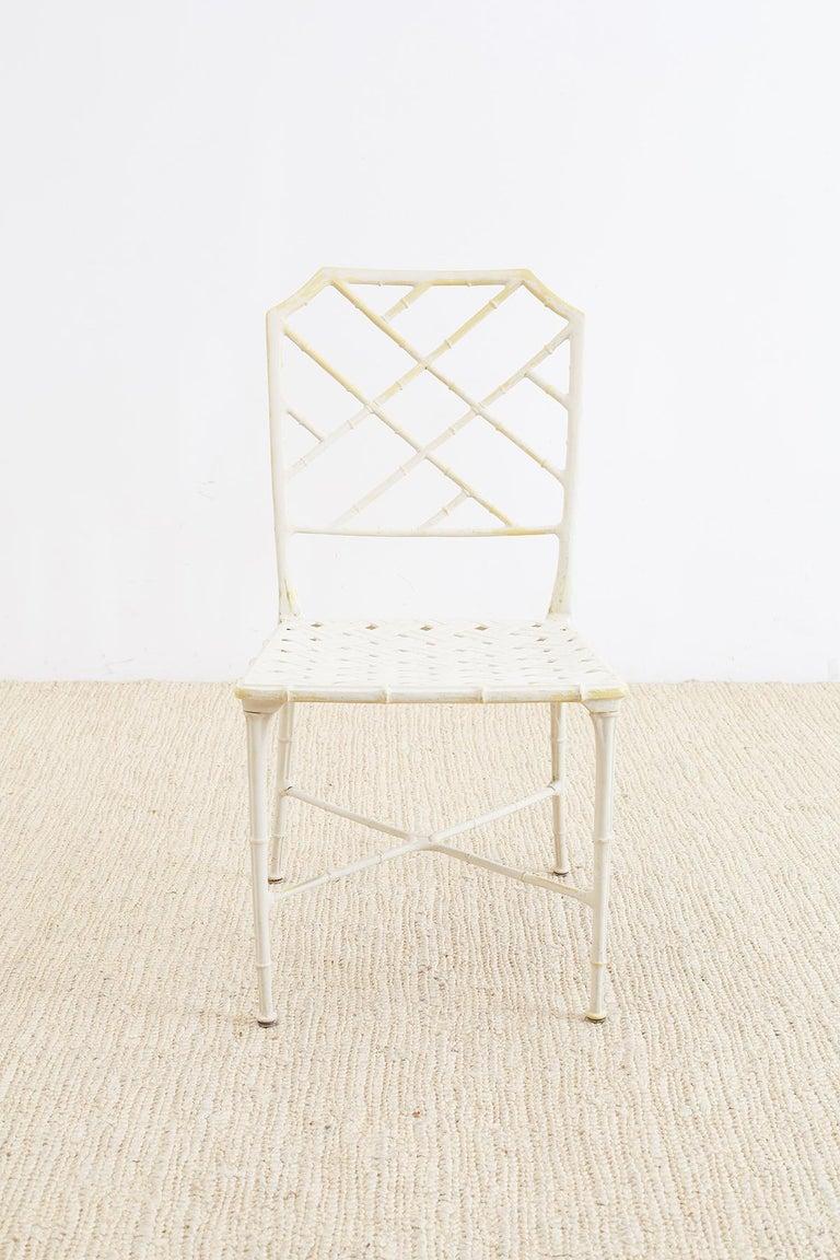Aluminum Brown Jordan Calcutta Faux Bamboo Garden Chairs For Sale
