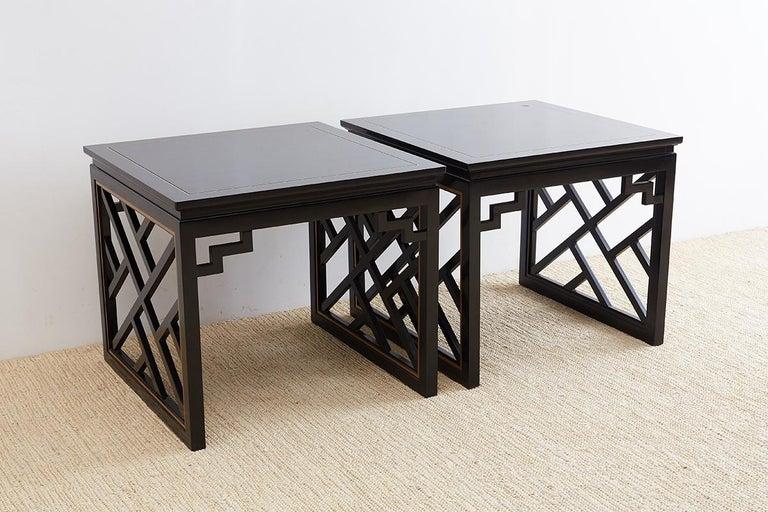 Hollywood Regency Carleton Varney for Kindel Lacquered Trellis Tables For Sale