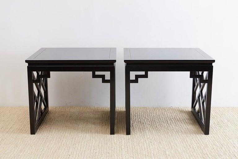20th Century Carleton Varney for Kindel Lacquered Trellis Tables For Sale