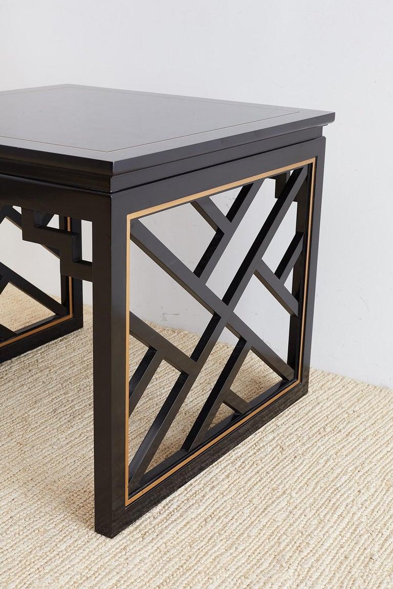 Wood Carleton Varney for Kindel Lacquered Trellis Tables For Sale