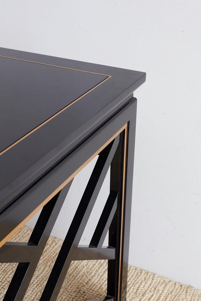 Carleton Varney for Kindel Lacquered Trellis Tables For Sale 5