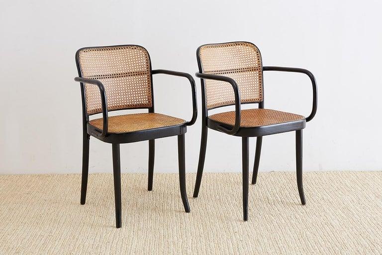 Czech Josef Hoffman for Stendig Black Bentwood Prague Chairs For Sale