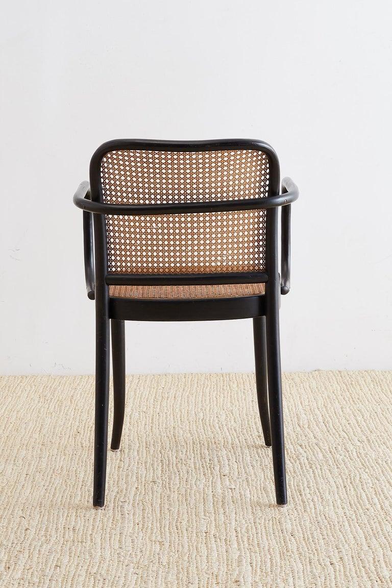 Cane Josef Hoffman for Stendig Black Bentwood Prague Chairs For Sale