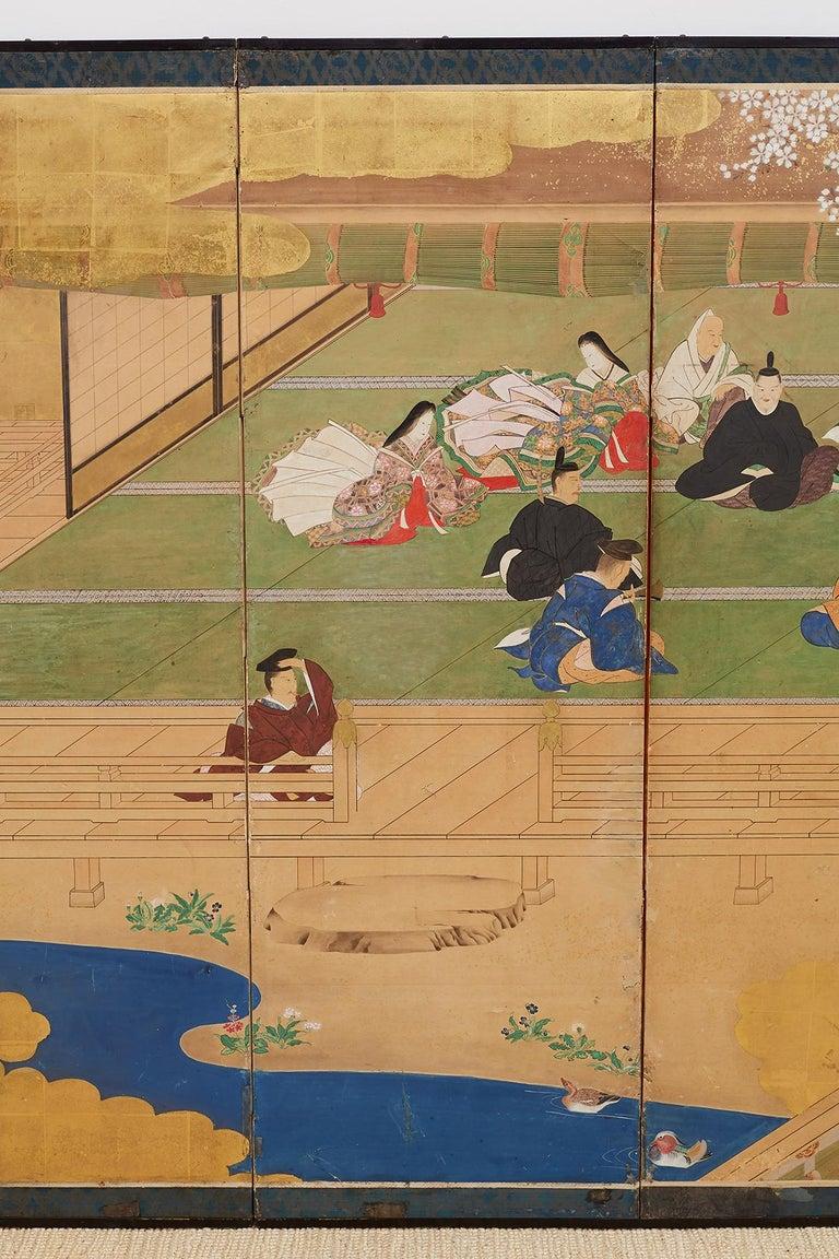 Ebonized  Japanese Edo Period Kano School Six Panel Screen For Sale