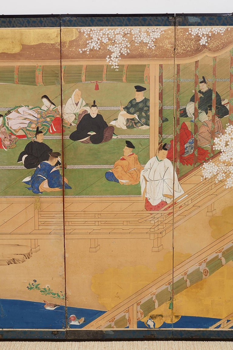 Japanese Edo Period Kano School Six Panel Screen In Fair Condition For Sale In Oakland, CA