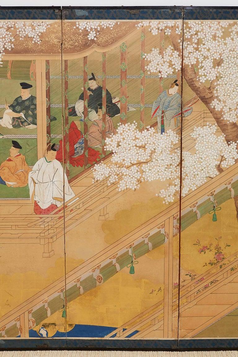 Japanese Edo Period Kano School Six Panel Screen For Sale 1