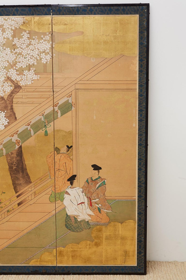 19th Century  Japanese Edo Period Kano School Six Panel Screen For Sale