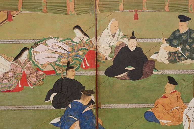 Japanese Edo Period Kano School Six Panel Screen For Sale 5