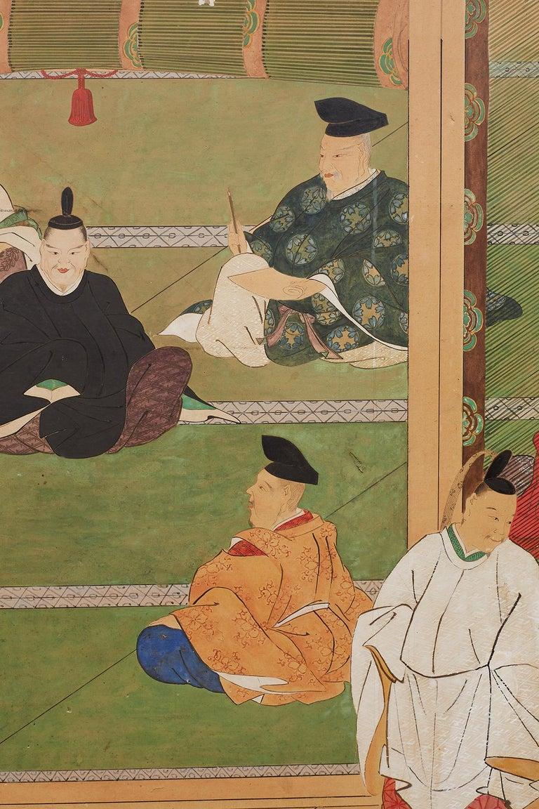 Japanese Edo Period Kano School Six Panel Screen For Sale 7