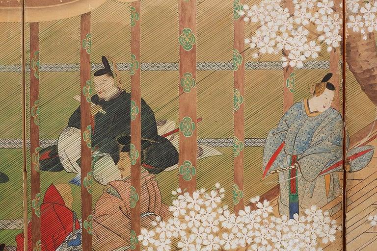 Japanese Edo Period Kano School Six Panel Screen For Sale 8