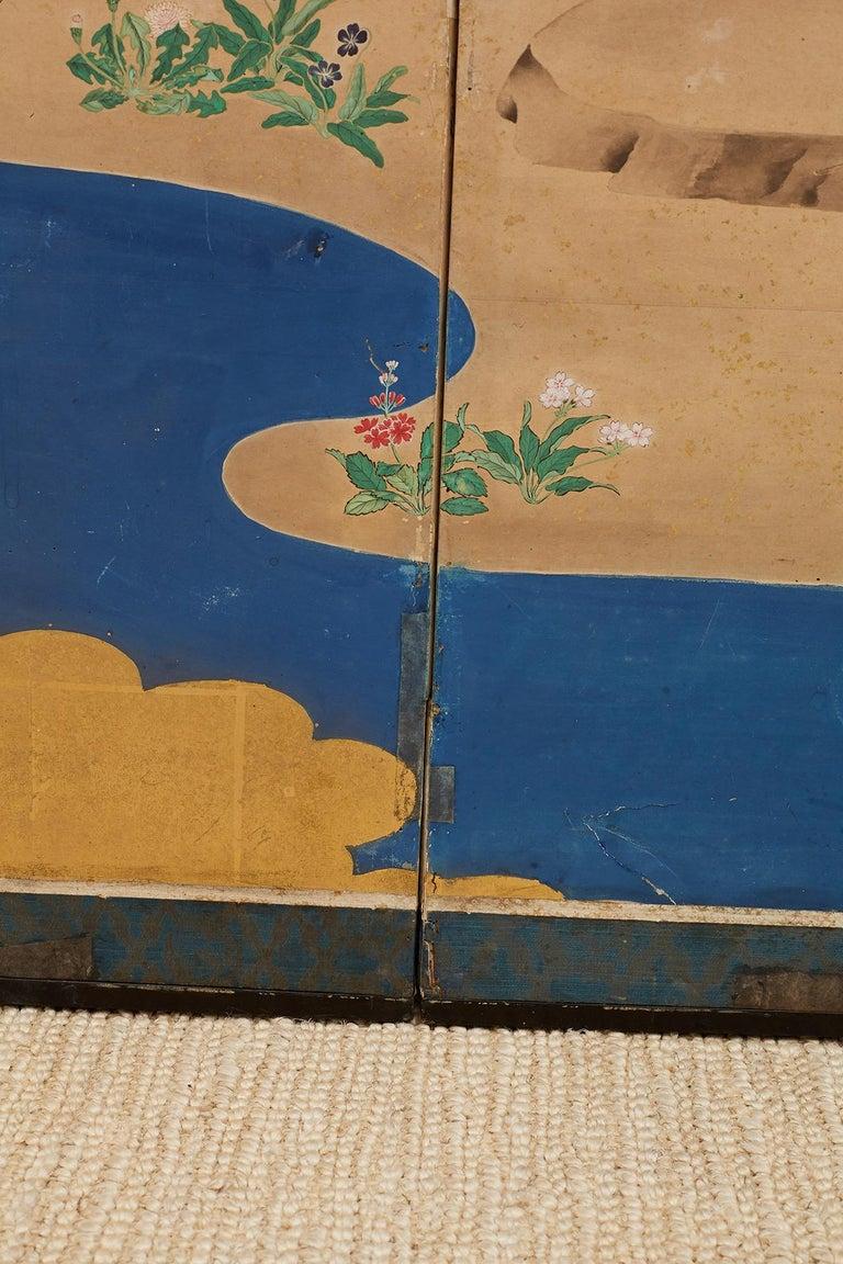 Japanese Edo Period Kano School Six Panel Screen For Sale 13
