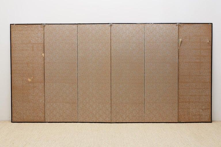 Japanese Edo Period Kano School Six Panel Screen For Sale 14