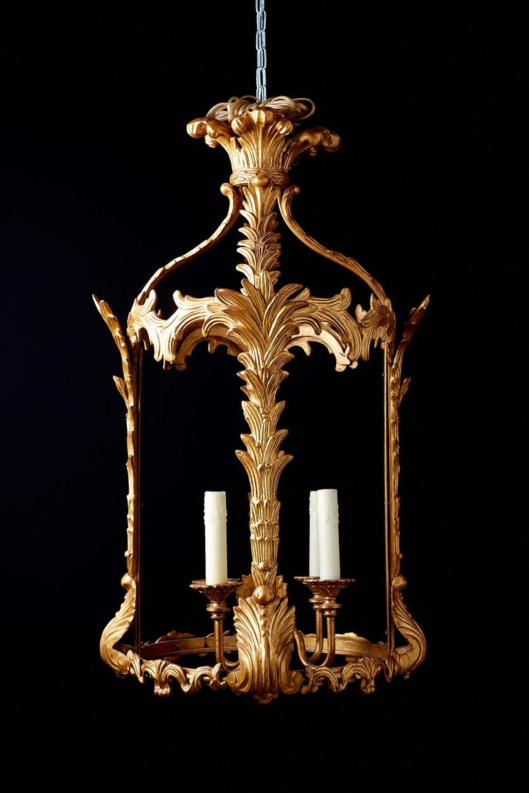 French Louis XVI Style Gilded Iron Pendant Lantern In Good Condition For Sale In Oakland, CA