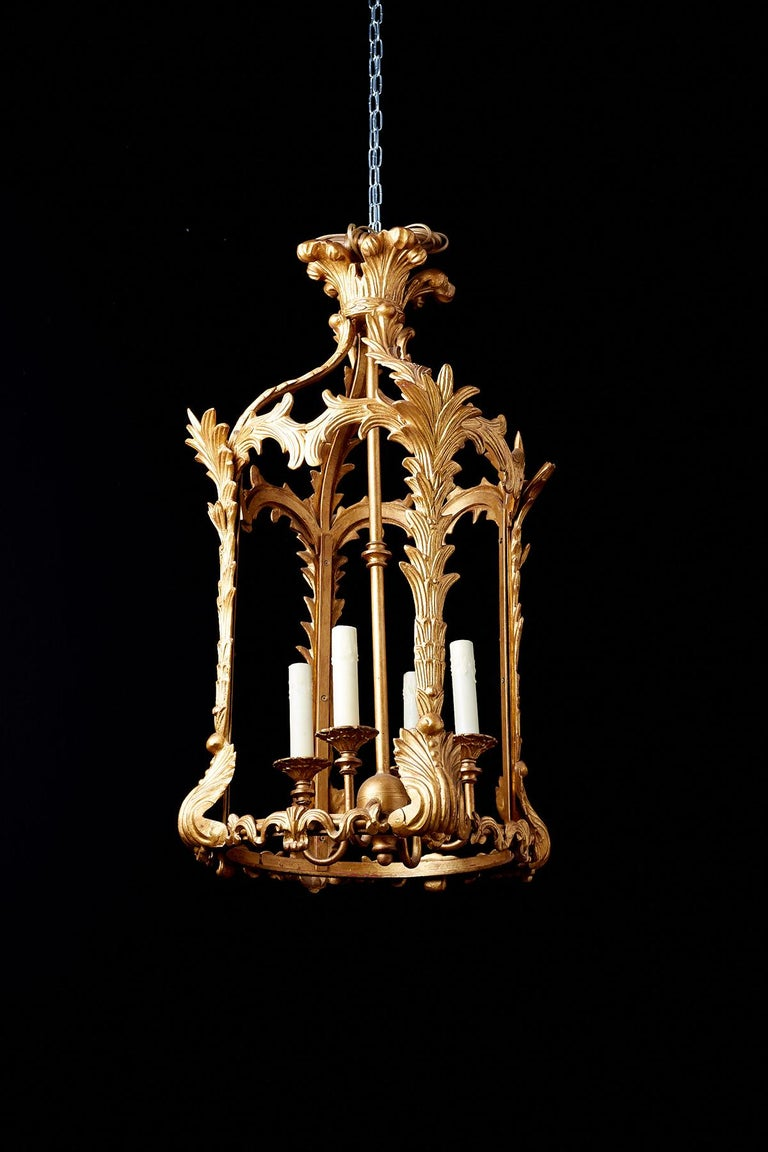French Louis XVI Style Gilded Iron Pendant Lantern For Sale 4
