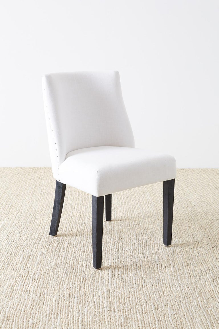 Set of Four French Barrel Back Style Dining Chairs In Good Condition For Sale In Oakland, CA