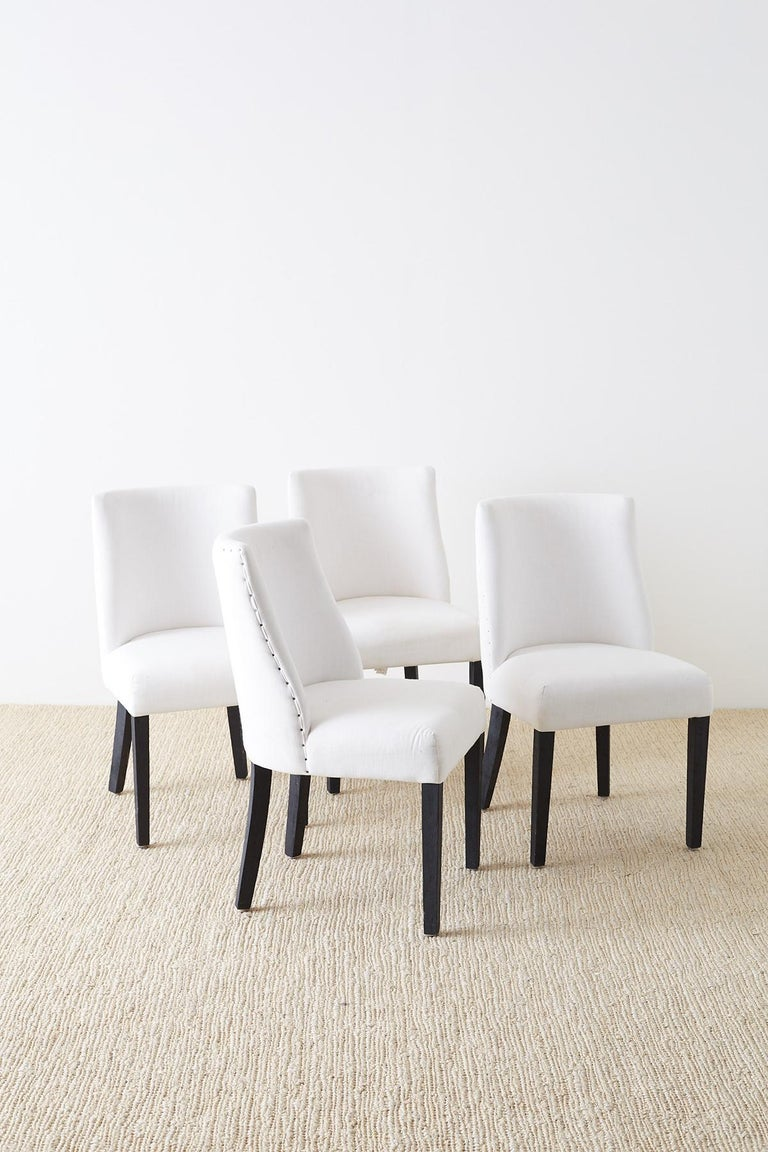 Modern Set of Four French Barrel Back Style Dining Chairs For Sale