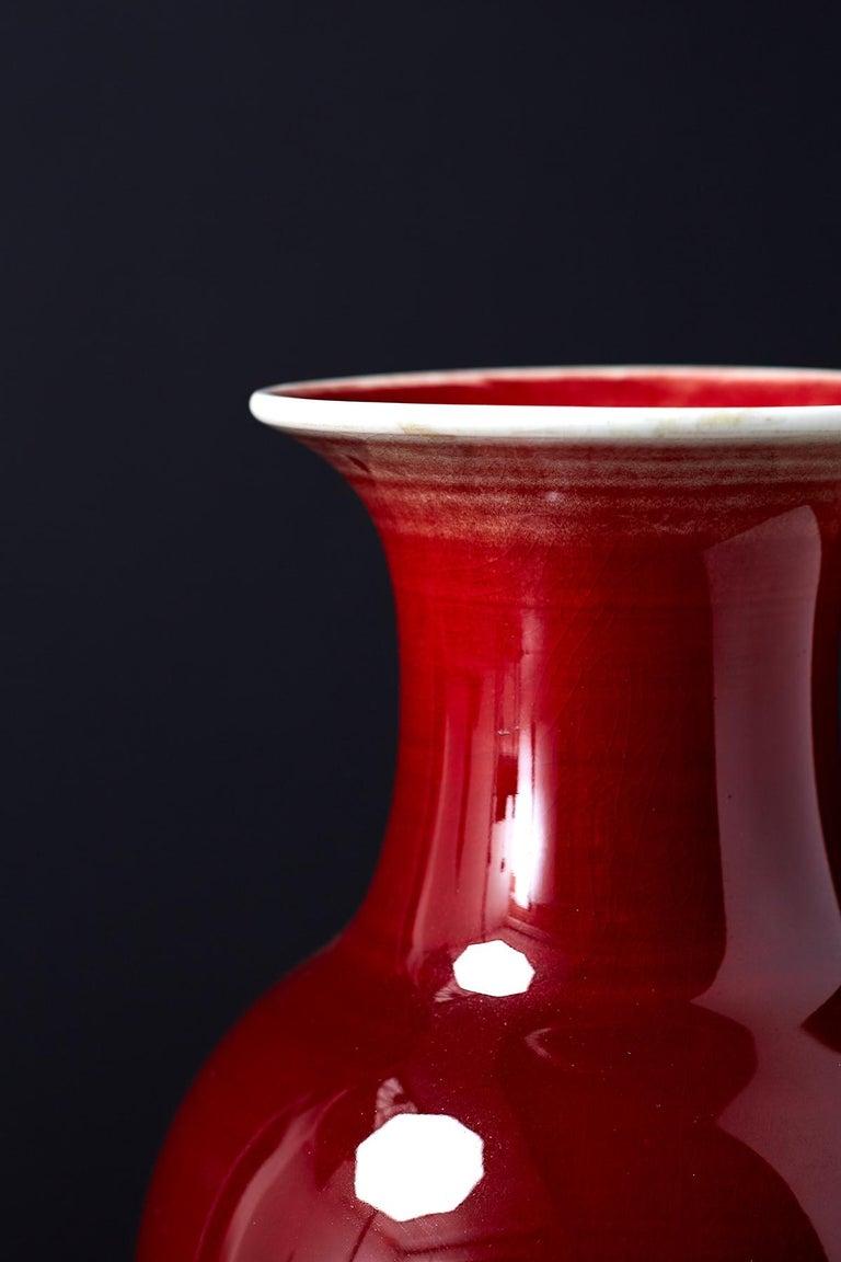 Chinese Sang de Boeuf Oxblood Glazed Porcelain Vase For Sale 6