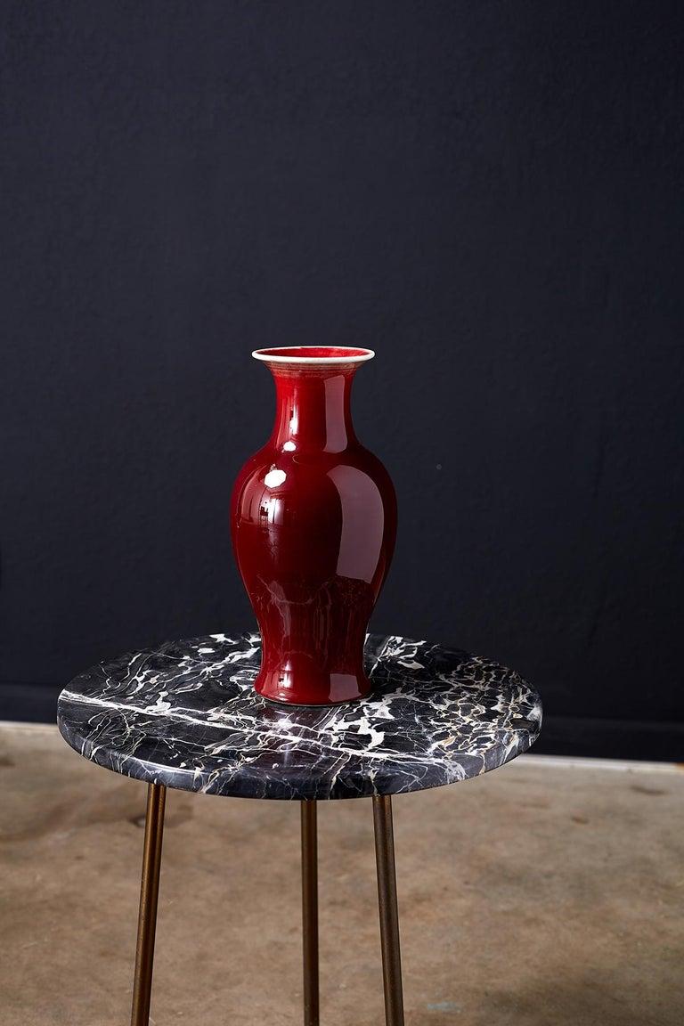 20th Century Chinese Sang de Boeuf Oxblood Glazed Porcelain Vase For Sale