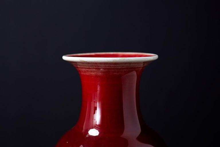 Chinese Sang de Boeuf Oxblood Glazed Porcelain Vase For Sale 7