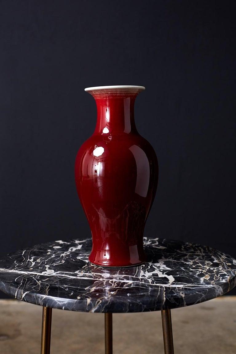 Chinese Export Chinese Sang de Boeuf Oxblood Glazed Porcelain Vase For Sale