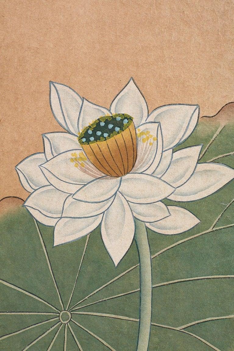 japanese cranes and lotus blossom byobu screen for sale at 1stdibs