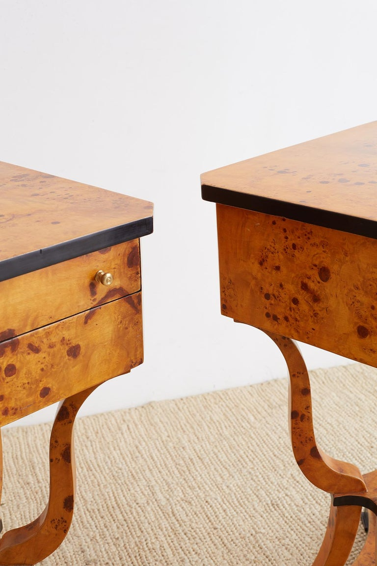 Pair of Swedish Biedermeier Sewing Table or Nightstands In Good Condition For Sale In Oakland, CA