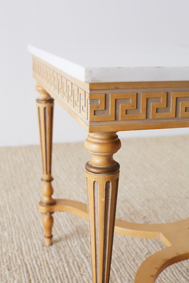 Hand-Crafted Italian Neoclassical Carrara Marble-Top Table For Sale